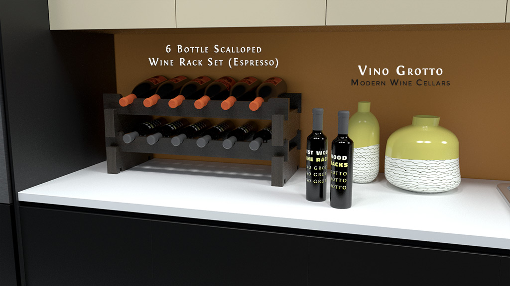 Scalloped wine rack set on modern kitchen counter