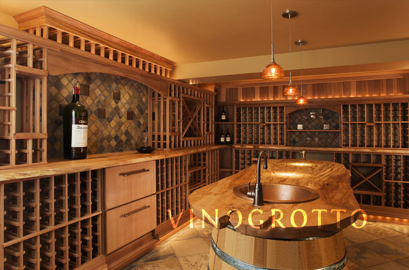 Custom wine cellar with barrel center table