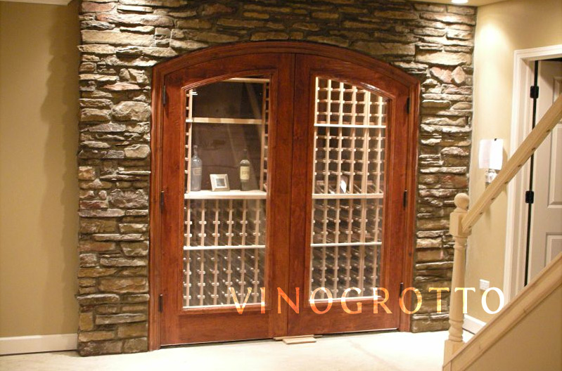 Glass wine cellar door with cherry finish