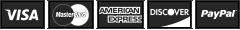 Visa, MasterCard, American Express, Discover, PayPal