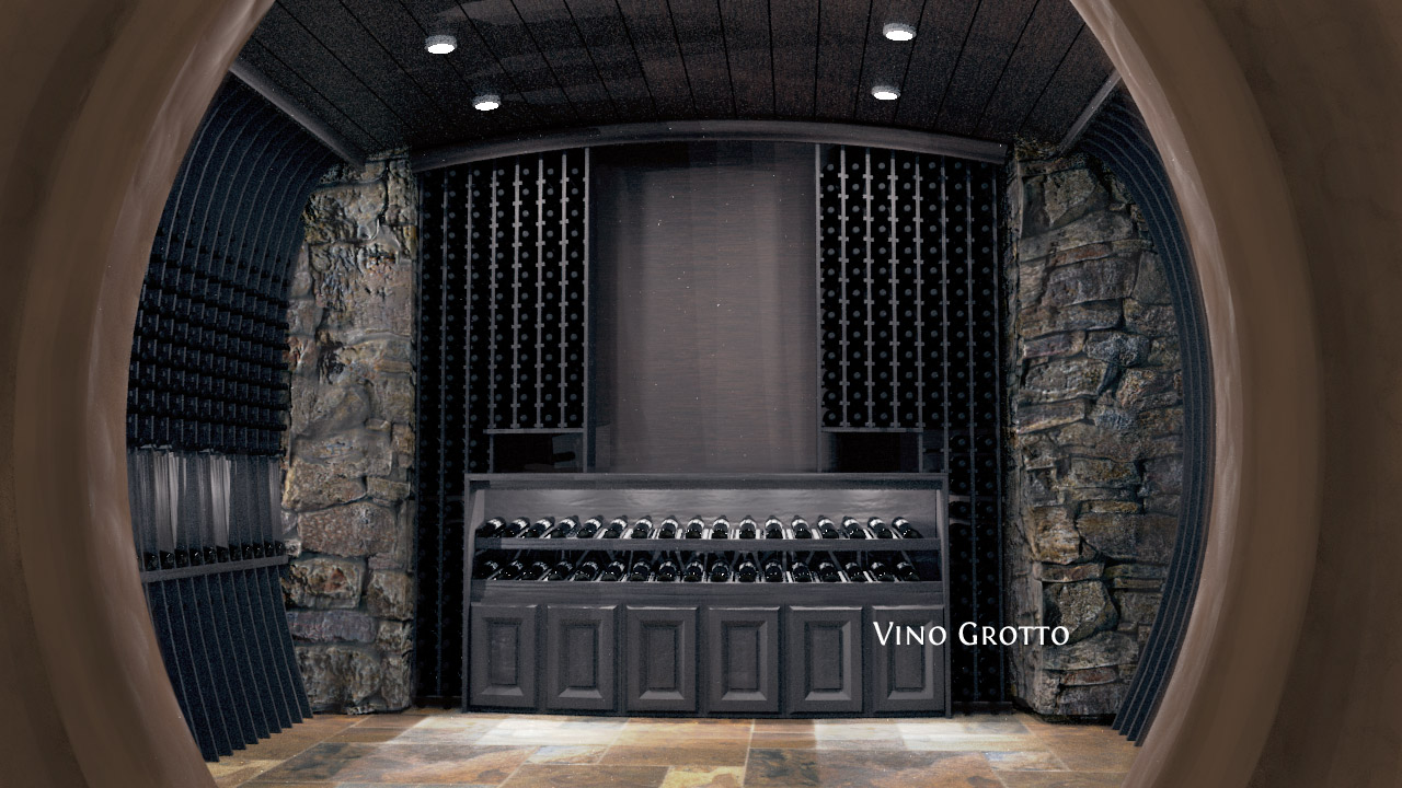 Vino Grotto curved custom wine cellar