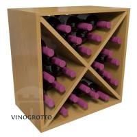 24 Bottle Cube - Pine Oak Satin Finish - Oak-Stain Showcase