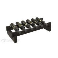 Vino Grotto 6 Bottle Short Scalloped Wine Rack - Pine Ebony-Stain Showcase