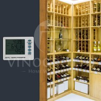 Thermometer Hygromter in use in large wine cellar