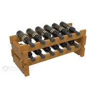 Vino Grotto 12 Bottle Short Scalloped Wine Rack Set - Pine Oak-Stain Showcase
