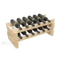 Vino Grotto 12 Bottle Short Scalloped Wine Rack Set - Pine Showcase