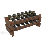 Vino Grotto 12 Bottle Short Scalloped Wine Rack Set - Redwood Walnut-Stain Showcase