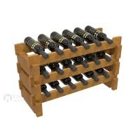 Vino Grotto 18 Bottle Short Scalloped Wine Rack - Pine Oak-Stain Showcase