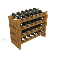 Vino Grotto 24 Bottle Short Scalloped Wine Rack Set - Pine Oak-Stain Showcase
