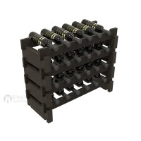 Vino Grotto 24 Bottle Short Scalloped Wine Rack Set - Redwood Ebony-Stain Showcase