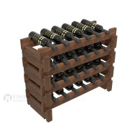 Vino Grotto 24 Bottle Short Scalloped Wine Rack Set - Redwood Walnut-Stain Showcase