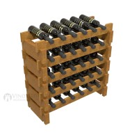 Vino Grotto 30 Bottle Short Scalloped Wine Rack Set - Pine Oak-Stain Showcase