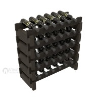 Vino Grotto 30 Bottle Short Scalloped Wine Rack Set - Redwood Ebony-Stain Showcase