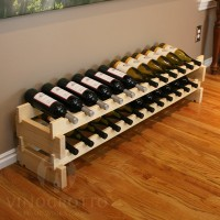 24 Bottle Stacking Scalloped Wine Rack - Pine Showcase