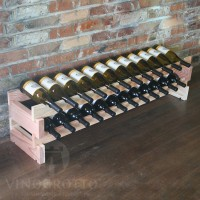 24 Bottle Stacking Scalloped Wine Rack - Redwood Showcase