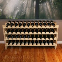 Stacking Pine Wine Rack Holds 48 Bottles