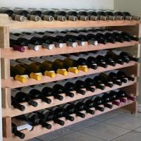 Stackable Wine Rack in Premium Redwood - Holds 60 Bottles