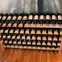 Stacking Wine Rack in Premium Redwood - Holds 60 Bottles