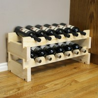 12 Bottle Scalloped Stacking Wine Rack Pine