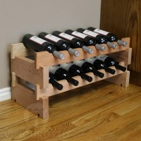 12 Bottle Stacking Wine Rack in Redwood