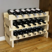 18 Bottle Scalloped Stacking Wine Rack Pine