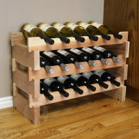 18 Bottle Scalloped Stacking Wine Rack in Redwood
