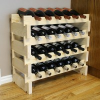24 Bottle Mini Scalloped Stacking Wine Rack Pine