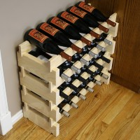 24 Bottle Stacking Pine Wine Rack from VinoGrotto