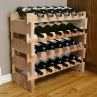 24 Bottle Mini Scalloped Stacking Wine Rack in Redwood