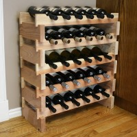 30 Bottle Stacking Scalloped Wine Rack in Redwood
