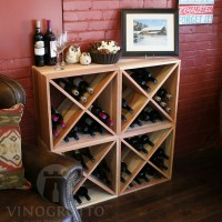VINOGROTTO-WC-24-X4-R - 96 Bottle Wine Cube Set in Premium Redwood Winter Redwood Showcase