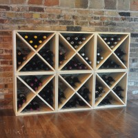 Set of 6 Wine Storage Cubes in Pine