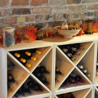 Stacking Wine Cubes in Premium Pine with Seasonal Fall Decor
