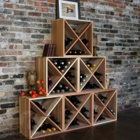 Set of 6 Stacking Wine Cubes Redwood
