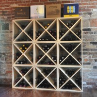 216 Bottle Wine Cube Display in Pine Showcase
