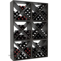 Vino Grotto 144 Bottle Wine Cube Wall (6 Cubes) - Pine Ebony-Stain Satin Finish Showcase