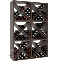 Vino Grotto 144 Bottle Wine Cube Wall (6 Cubes) - Pine Walnut-Stain Satin Finish Showcase