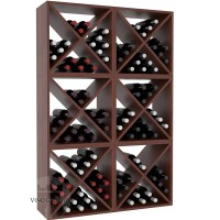 Vino Grotto 144 Bottle Wine Cube Wall (6 Cubes) - Redwood Cherry-Stain Satin Finish Showcase