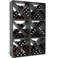 Vino Grotto 144 Bottle Wine Cube Wall (6 Cubes) - Redwood Ebony-Stain Satin Finish Showcase