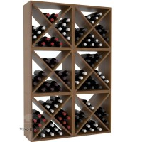 Vino Grotto 144 Bottle Wine Cube Wall (6 Cubes) - Redwood Oak-Stain Satin Finish Showcase
