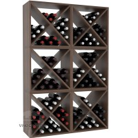 Vino Grotto 144 Bottle Wine Cube Wall (6 Cubes) - Redwood Walnut-Stain Satin Finish Showcase