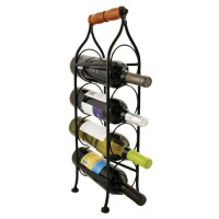4 Bottle Metal Wine Rack with Handle