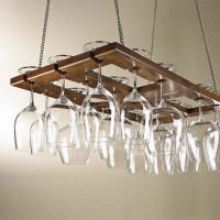 Hanging Mahogany Wine Glass Rack - 18 Glasses