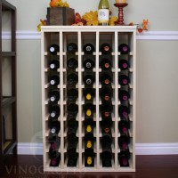 40 Bottle Table Top Wine Rack in Pine with Solid Sides