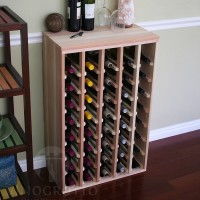40 Bottle Table Top Wine Rack with Solid Sides Redwood Showcase