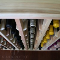 Table Wine Rack with Solid Sides - Redwood Detail