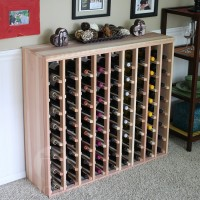 72 Bottle Table Top Wine Rack with Solid Sides Redwood Showcase