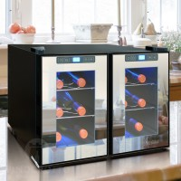 12 Bottle Dual Zone Thermoelectric Mirrored Wine Cooler