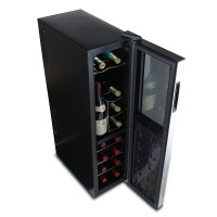 Wine Enthusiast Silent 18 Bottle Dual Zone Touchscreen Wine Refrigerator Slimline Edition