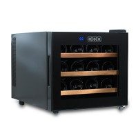 Wine Enthusiast Silent 12 Bottle Touchscreen Wine Refrigerator (Wood Shelves)